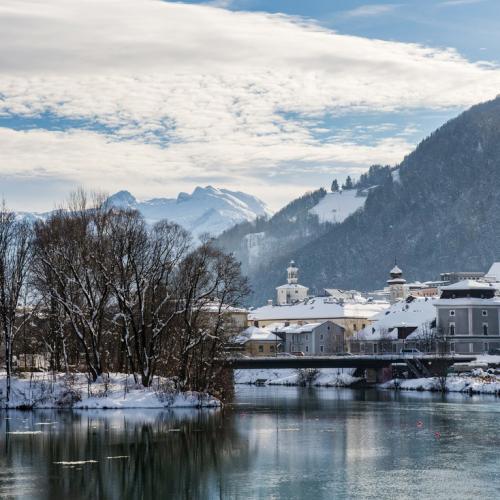 View over River Salzach to Hallein