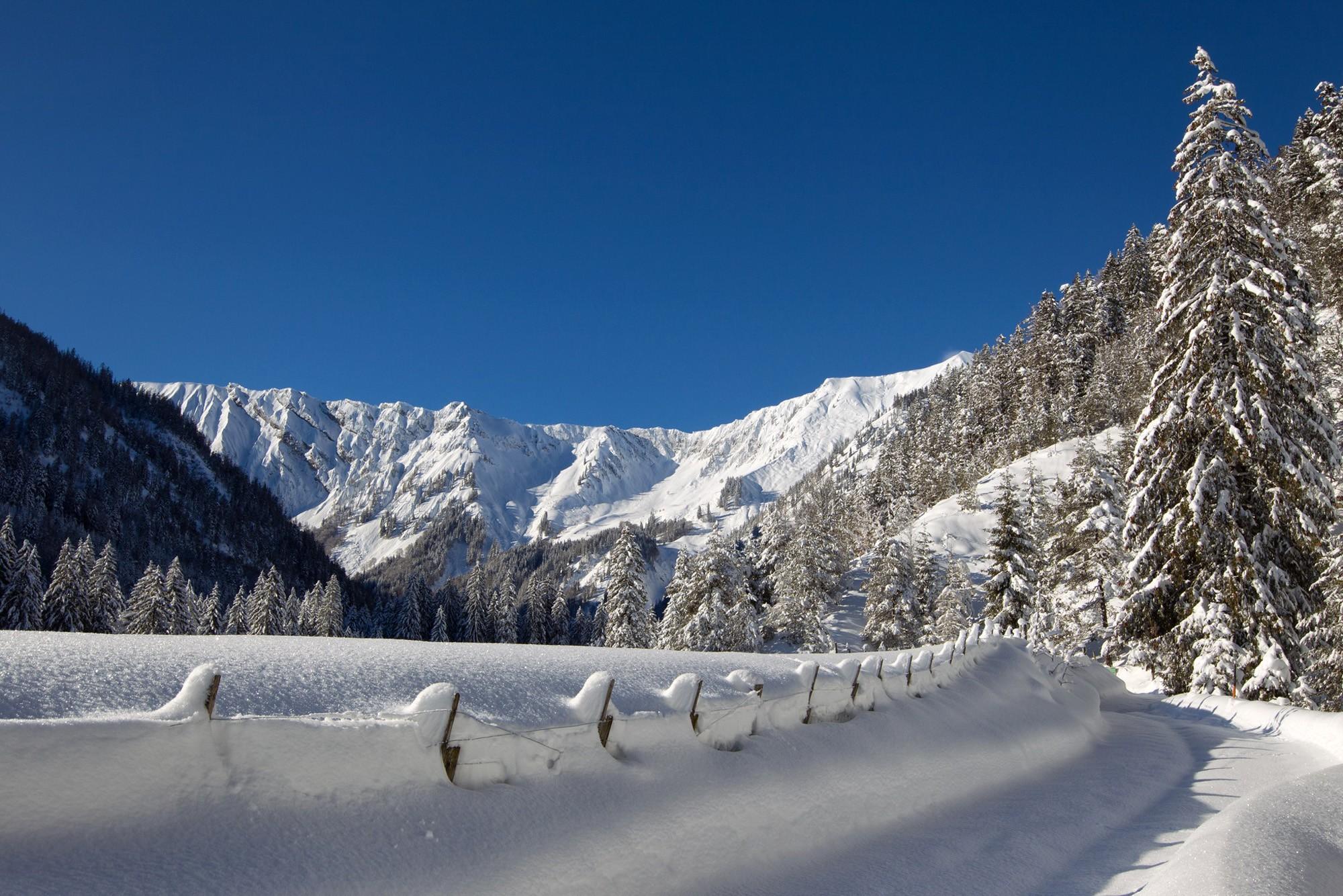 Montagne innevate e recinto coperto di neve fresca