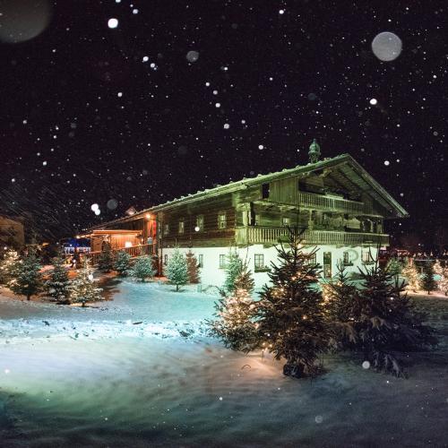 Altes Haus, Schneelandschaft, Tannenbäume