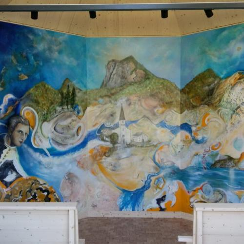 Aquarell des Künstlers Bernd Horak in der Gedächtniskapelle